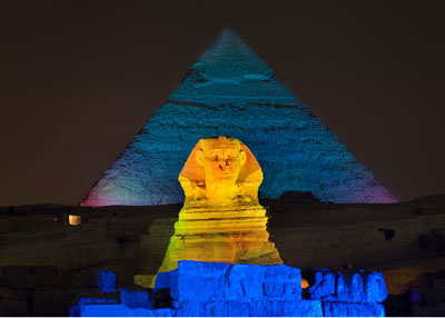 The Sound and Light Show at Giza, Egypt with the Sphinx and a Pyramid of Khafre